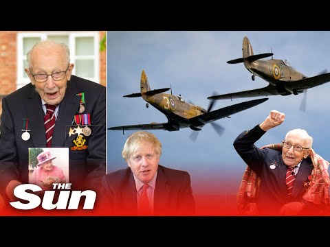 Captain Tom Moore 100th birthday flypast and message from Boris Johnson