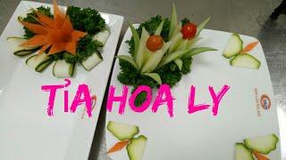 fruits carving//Cách tỉa hoa ly cà rốt và dưa leo cơ bản #đăng_ký_kênh