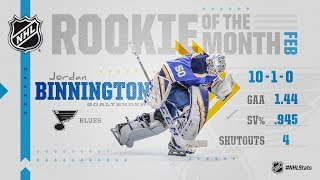 Jordan Binnington wins February Rookie of the Month