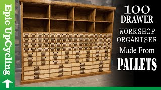 100 Drawer Workshop Organiser Made From Pallets. Over 1000 Separate Pieces.