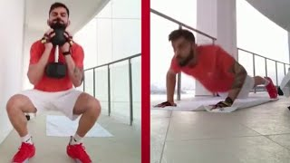 Virat Kohli work out at hotel balcony in Dubai for IPL, vi..