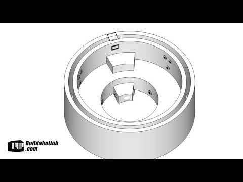 video 2.6m Internal Diameter Cylindrical Hot Tub, 16 Jets, dimensional & Plumbing diagrams, Shopping List, Tips & Tricks (metric)