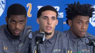 UCLA players LiAngelo Ball, Jalen Hill, Cody Riley suspended indefinitely [press conference] | ESPN