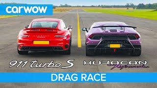 Lamborghini Huracan Performante v Porsche 911 Turbo S - DRAG RACE, ROLLING RACE & BRAKE TEST
