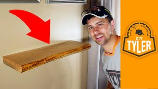 Invisible Hardware Live Edge Floating Shelf   How to Make