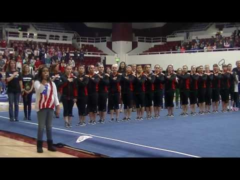 Raven singing the  Anthem for the Stanford Cardinal Womens Gymnastics Team
