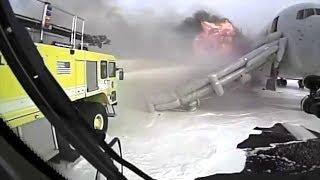 Crash Truck Dash Cam #2: AA 383 Engine Fire at O'Hare