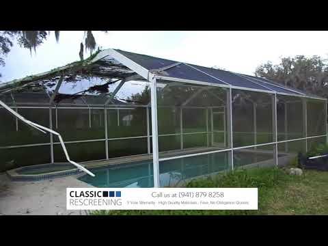 Pool Cage Enclosure Screen Repair and Rescreening