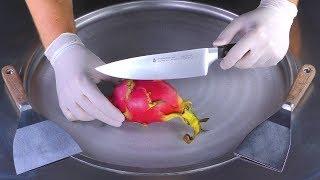 ASMR - Dragon Fruit Ice Cream Rolls | oddly satisfying Pitaya fried Ice Cream with scratching Sounds