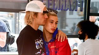 Justin Bieber Tears Up With Fiancee Hailey Baldwin at His Side