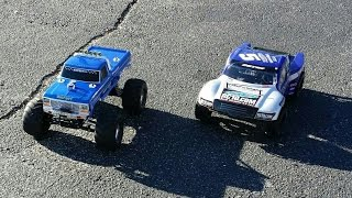 Traxxas Bigfoot vs Team Associated SC10 Brushed