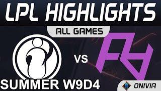 IG vs RA Highlights ALL GAMES LPL Summer Season 2021 W9D4 Invictus Gaming vs Rare Atom by Onivia
