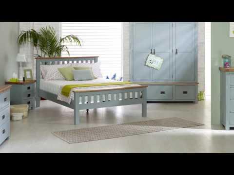 New Hampshire 3 Drawer Bedside - Grey & Oak