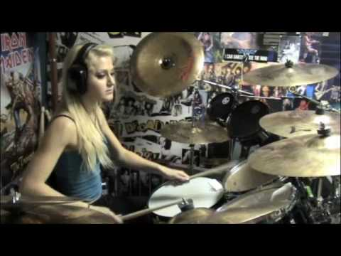 Chick drummer playing along to Forgiven-Disturbed