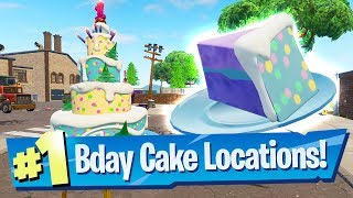 "Fortnite All Birthday Cake Locations - ""Dance In Front Of Different Birthday Cakes"""