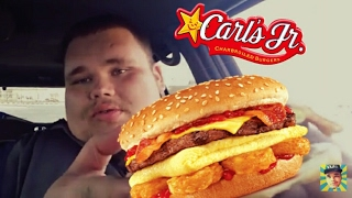 Carls Jr's NEW ALL DAY Breakfast Burger Food Review!
