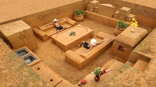 Building The Most Creative Underground House with Underground Living Room and Kitchen