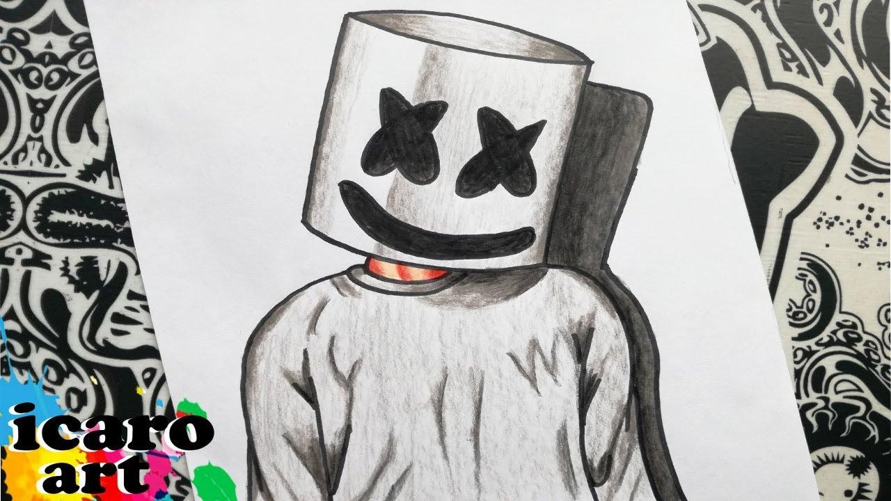 Como Dibujar A Marshmello How To Draw Marshmallow Como