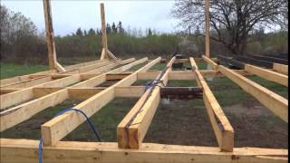 Time lapsed video of building a house off the grid on a homestead with home made lumber