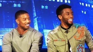 """Black Panther"" FULL press conference with Chadwick Boseman, Michael B. Jordan, Lupita Nyong'o, more"