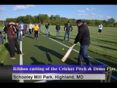 Pictures of Ribbon cutting of the Cricket Pitch and Demo Play, Highland, MD, USA