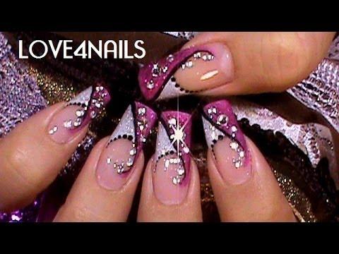 Como Decorar Sus Uñas Color de Rosa Con Cristales ~ Tutorial