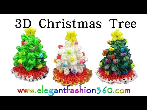 Rainbow Loom Christmas Tree 3D and Skirt Charm Holiday/Ornaments- How to Loom Band tutorial