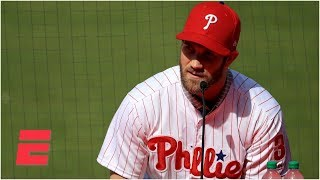 Bryce Harper Phillies introductory press conference (New number, World Series & Mike Trout?) | MLB