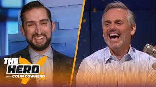 Nick Wright pays off Bills bet to Colin; talks Brady's potential 10th Super Bowl & Kyrie | THE HERD