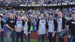 Cast of 'Jersey Boys' Sing National Anthem at Dodgers Game