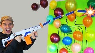 Nerf Gun Balloon Trick Shots! (Guava Juice Nerf Style)