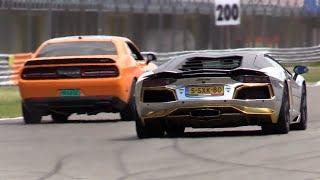 Lamborghini Aventador vs Dodge Challenger SRT Hellcat vs Gallardo!