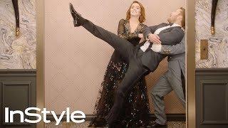 Zoey Deutch & Glen Powell | 2019 Golden Globes Elevator | InStyle