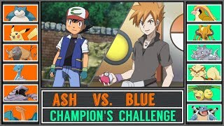Ash vs. Trainer Blue (Pokémon Sun/Moon) - Kanto Champion's Challenge