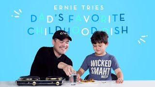 Ernie Tries His Dad's Favorite Childhood Dish!   Kids Try   HiHo Kids