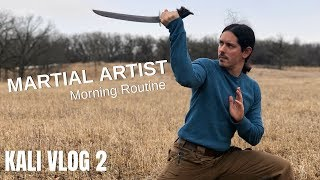 Martial Artist's Morning Routine - Hiking and Escrima Sticks - Vlog Ep 2
