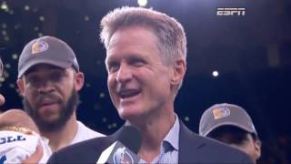 An emotional Steve Kerr still found time for sarcasm after clinching NBA Finals