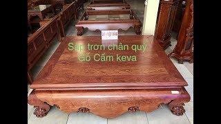 Sập trơn chân quỳ gỗ Cẩm Lai vân chun siêu víp (1m8*2m2) - gỗ Việt Bắc