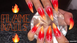Acrylic Stiletto Nails Full Set Tutorial | Ombre Flame Nails