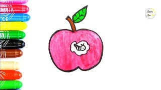 Apple Worm coloring and drawing 🍎 Learn Colors for kids