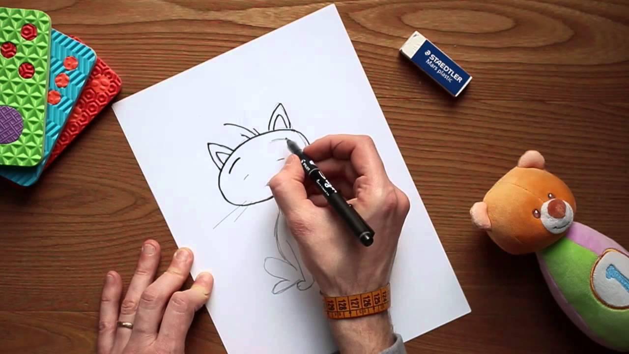 Come disegnare un gatto disegni a matita per bambini youtube for Disegni di cavalli a matita