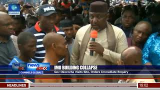 Imo Building Collapse: Gov Okorocha Visits Site, Orders Immediate Enquiry