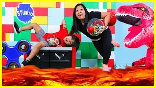 The Floor is Lava with Ryan ToysReview and Giant T-Rex + Fidget Spinners, Bottle Flip, Mannequin!