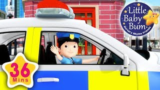 Police song | Plus Lots More Nursery Rhymes | 36 Minutes Compilation from LittleBabyBum!