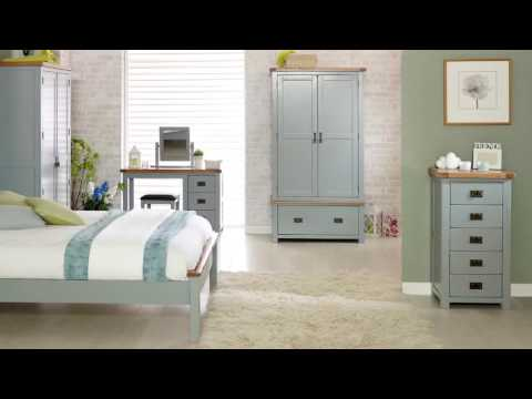 New Hampshire 3 Drawer Dressing Table - Grey & Oak
