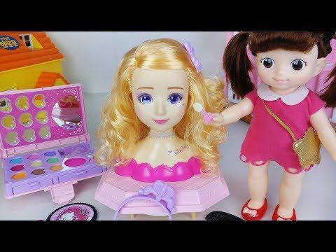 Baby doll make up and hair shop toys play 아기인형 쥬쥬 메이크업 헤어 디자이너 샵 장난감놀이 - 토이몽