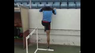 hurdles pre-season workout.