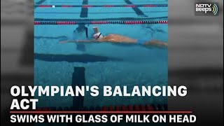 Viral video: 5-time Olympic gold medalist swims while bala..