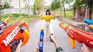 Nerf War Sniper force ⚡ Hero Man Nerf Guns The SPY Rescue Yellow Girl Nerf Movie