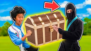 Ninja MarMar Pretend Play Hunt for Treasure Chest in Park! Learn Directions with MarMar land